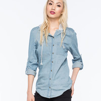 Ali & Kris Washed Hooded Womens Chambray Shirt Blue  In Sizes