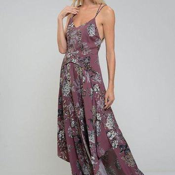 Hydrangea Print Purple Maxi Dress