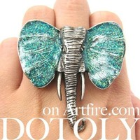 Large Elephant Adjustable Animal Ring in Silver with Turquoise Glittery Ears