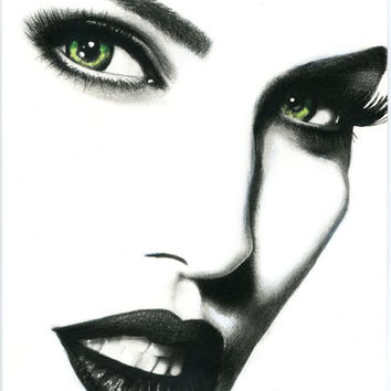 queens vengeance woman original art pencil drawing black and white art makeup beauty artwork fantasy pop eyes lips