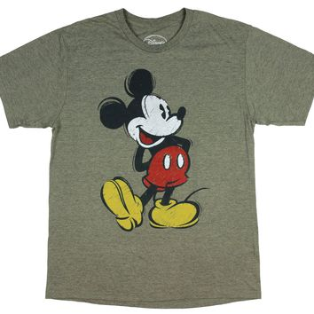 Men's Mickey Mouse Vintage Paint Sketch Character Adult Graphic T-Shirt