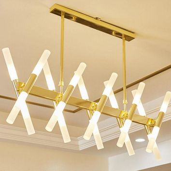 Modern minimalist dining chandelier Rectangular living room LED lighting Creative personality art LED lights led lighting lamps