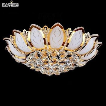 Modern circle gold lotus crystal lamp ceiling light living room lights led lamps