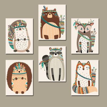 TRIBAL ANIMAL Nursery Art, Woodland Tribal Wall Art, Canvas or Print, Tribal Baby Decor, Wood Forest Animals, Gender Neutral, Set of 6
