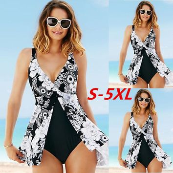 One Piece Swimsuit Sexy Women Sleeveless Deep V-neck Print High Waist Irregular Swimwear Backless Kimono