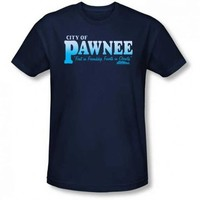 Parks and Recreation Pawnee First in Friendship, Fourth in Obesity Adult Navy T-Shirt