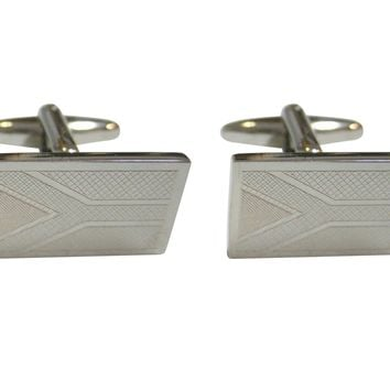 Silver Toned Etched South Africa Flag Cufflinks