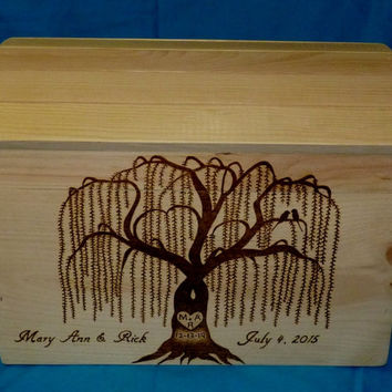 Decorative Wood Wedding Card Box Wood Burned Box Trunk Chest Wedding Tree Keepsake Guest Book Box Large Box Personalized Love Birds Gift