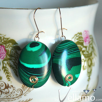 14K gold filled earrings with green malachite by byVellamo on Etsy