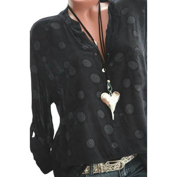2018 New Fashion Women Plus Size Print Long Sleeve Polka Dot Button Blouse Pullover Chiffon Tops Shirt V neck