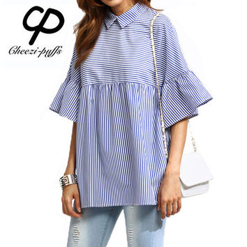 CP Summer Women Fashion 2017 Blue Striped Ruffle Tops Shirts Girls New Casual Loose Sweet Bell Sleeve Shirts Blouse High Quality