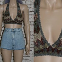 Free People Halter Top Crop Bra Cropped Chevron Print Boho Hipster Grunge Festival Earthy Cyber Goth Pastel 70s bandeau Lace Knit Mesh