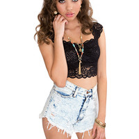 Addison Lace Crop Top - Black