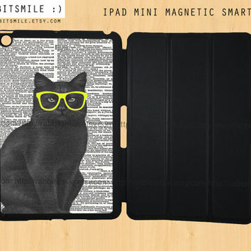 Black Cat iPad Mini Case, Hipster Cat iPad mini retina case, Dictionary iPad Mini Smart Cover, iPad Mini Smart Case, iPad Mini Cover