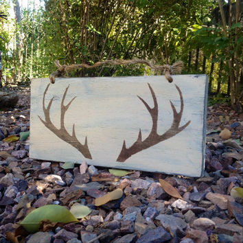 Faux Taxidermy Reindeer Antlers Sign - Reclaimed Wood Sign