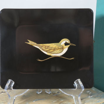 Couroc Bird Inlay Small Serving Tray Wood Brass Vintage