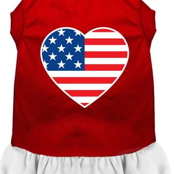 American Flag Heart Screen Print Dress Red With White Xs (8)