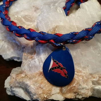 Rebel Flag Paracord Necklace - Blue - MADE IN THE USA