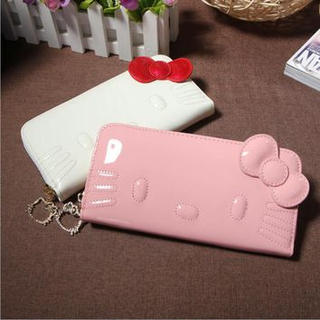 Hello kitty long famous brand designer purse luxury magic PU female wallet women leather wallets for women carteira feminina