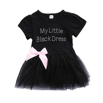 Baby Girls Kids Infant Newborn Summer Short Sleeve Letter BOW Lace Mini Dress Pageant Party Tutu Ball Gown Tulle Princess Dress