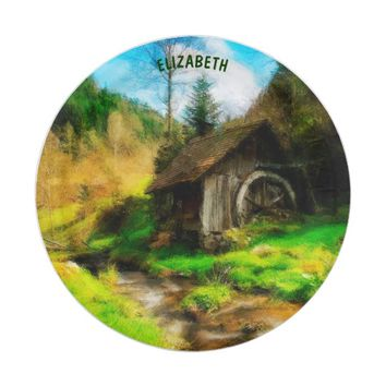 Retro Old Mill In Mountain Valley On Small River Paper Plate