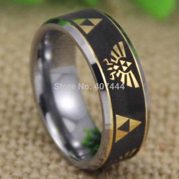 Free Shipping YGK JEWELRY Hot Sales 8MM Legend of Zelda Black Engraved Golden Symbols New Tungsten Wedding Ring
