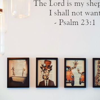 The Lord is my shepherd I shall not want - Psalm 23:1 Style 29 Vinyl Decal Sticker Removable