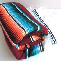 Vintage South of The Border Mexican Serape Woven Blanket Charming Retro 80s Style Throw