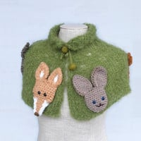 Cosy scarf with forest animals For girl Over outerwear Funny neck warmer Green Brown Crochet capelet Birthday gift Handmade Impressive