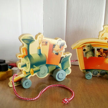 Disney Wood Pull Train Toy, Vintage Disney Train Wood Pull Toy
