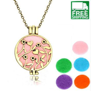 Aromatherapy Heart Hollow Out Essential Oil Diffuser Necklace