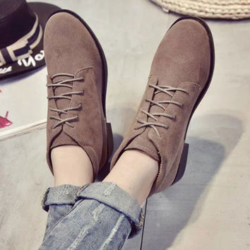 New Fall Women Shoes Low Heels Lace-Up Women Boots Flock Round Toe Ankle Boots Shoes Woman Bota Feminina 2 Colors WSH2199