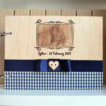 wood new born notebook A5, your photo engraved, with fabric and ribbon, personalized with your phrase, special gift any occasion