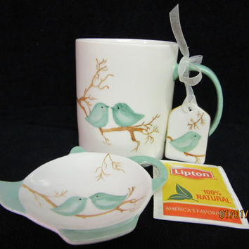 Cup Mug, Tea holder 12 oz., Spring Trends, Gift Set w aqua, gift tag ; hand painted by B Marsh Porcelain pottery