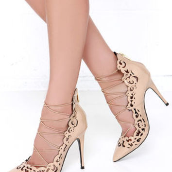 LFL Essence Nude Laser Cut Booties