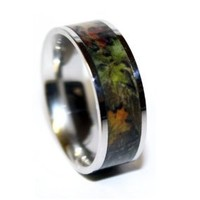 Camo Rings - Camo Wedding Ring - Camouflage Titanium Mens Wedding Band - Camo Engagement Rings