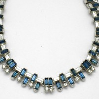 TRIFARI 1957 Jeweled Horizon Necklace Sapphire Baguette Rhinestone Beauty