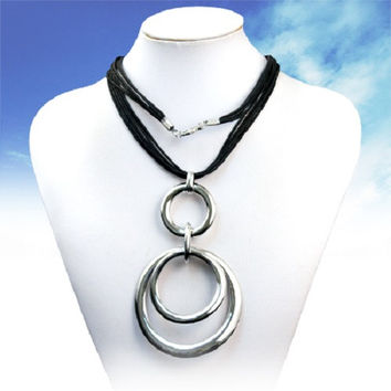 """27"""" black silver rings layered pendant Necklace"""