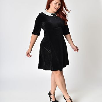 Hell Bunny Plus Size Black Velvet & Snowy Collar Mini Dress