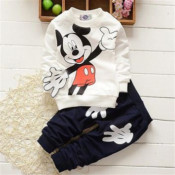 Mickey Mouse Cotton long Sleeve 2pcs Boy Girls Clothes