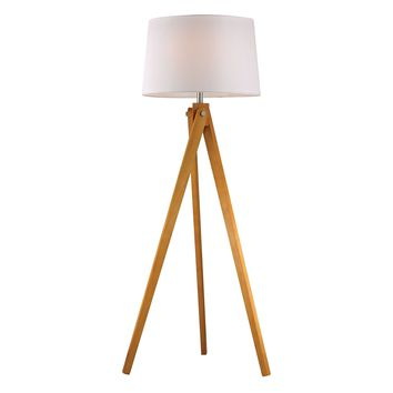 Wooden Tripod Floor Lamp in Natural Wood Tone Wood Tone
