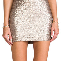 MM Couture by Miss Me Sequin Mini Skirt in Gold