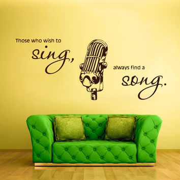 rvz755 Wall Vinyl Sticker Bedroom Decal Mic Microphone Sing Song Music