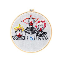 """Killer Klowns from Outer Space 4"""" Embroidery Hoop Wall Hanging Wall Art"""