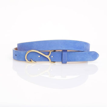 leather fish hook belt from vineyard vines nautical style