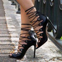 Lace Up Peep Toe Stiletto High Heels Short Boot Sandals