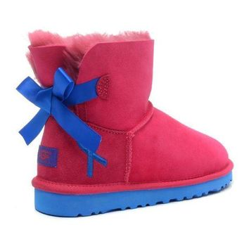 UGG Fashion Women Bow Fur Wool Snow Boots Shoes-6