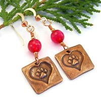 Dog Paw Print and Heart Copper Earrings, Fuchsia Pink Agate Handmade Jewelry