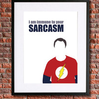 "Big Bang Theory - Sheldon Cooper  | 8x10 Instant Download Printable Art | Jim Parsons | ""I am immune to your sarcasm"" Sheldon Quote"