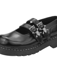 Black Double Skull Buckle Mary Janes - T2220